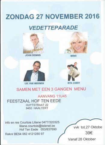 Vedetteparade op 27 november 2016