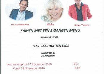 18 December 2016 – Optreden met Mieke, Luc Van Meeuwen & Steve Tielens